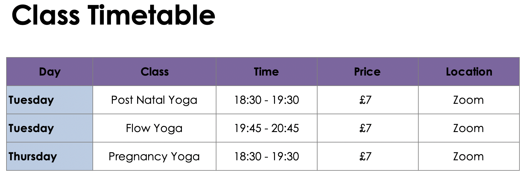 zoom timetable